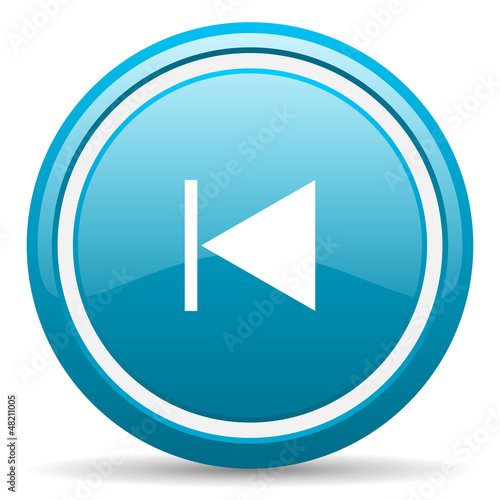 prev blue glossy icon on white background