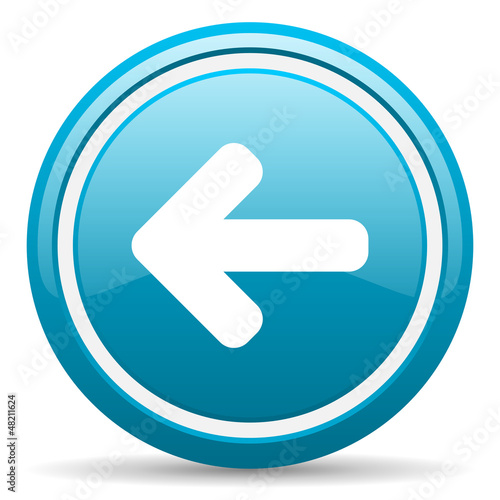 arrow left blue glossy icon on white background