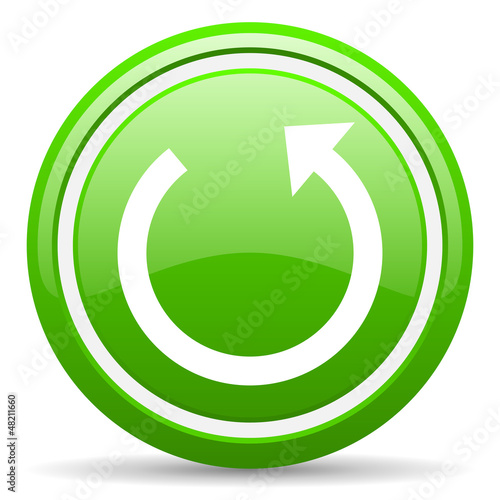 rotate green glossy icon on white background