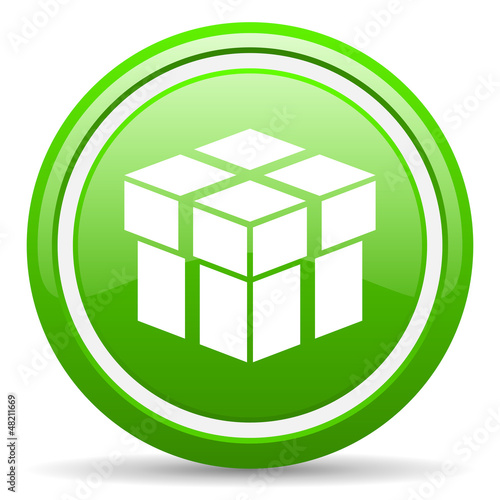 box green glossy icon on white background
