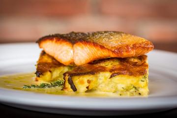 salmon fillet on a cauliflower gratin