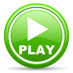 play green glossy icon on white background