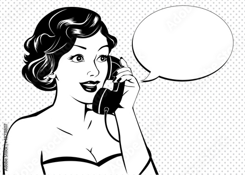 Poster Comics Vintage woman calling