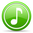 music green glossy icon on white background