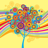 Multicolored background with a tree