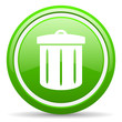 recycle green glossy icon on white background