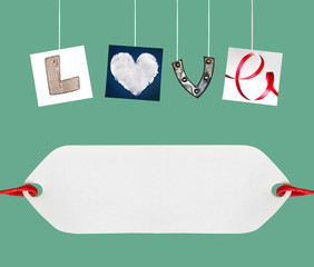 Love word made of four different objects, valentine's day concep