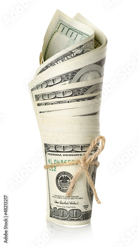 Roll of money isolated