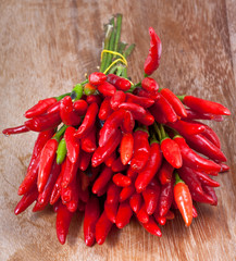 bunch of fresh small cayenne red pepper