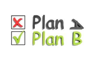 Tick and cross plan a and b