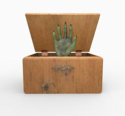 Caja de madera con mano