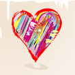 love concept, colorful heart with paint strokes and splashes, gr