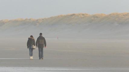 Couple walking on a dutch beach