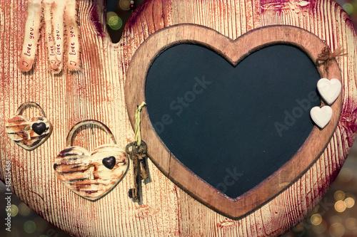 Valentine blackboard frame with keys to the heart