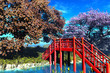 Traditional Japanese Bridge in Japanese Garden 3D r