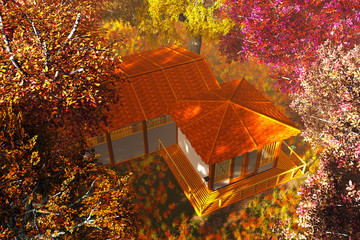 Traditional Japanese House and Bridge in Japanese Garden 3D rend