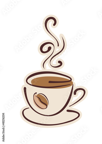 Cup of hot coffee and coffee bean. Vector eps10 illustration