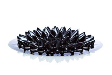 Macro of Ferrofluid on white surface