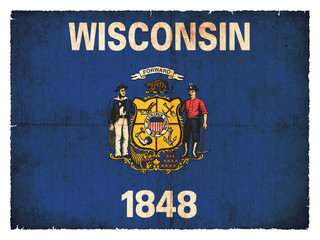 Grunge-Flagge Wisconsin (USA)