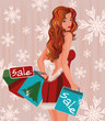 Winter shopping girl with  handbags, vector illustration