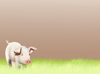 Hand Drawing of A Baby Pig on Greenfield Background