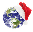 Earth with santa hat
