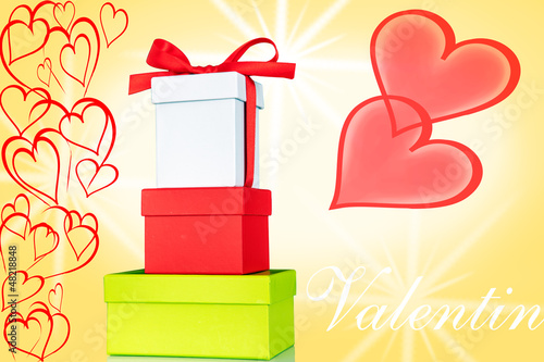 Box with bow and hearts