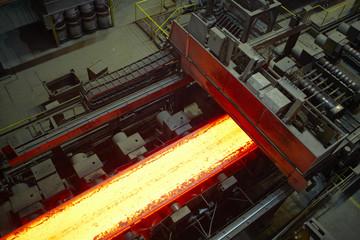 Hot steel on the production line.