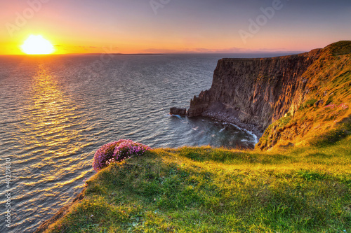 Fototapety, obrazy : Cliffs of Moher at sunset in Co. Clare, Ireland