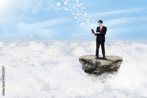 Businessman and cloud computing