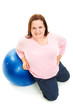 Plus Size Woman with Pilates Ball - Full Body