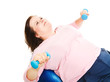 Plus Size Woman Does Pilates