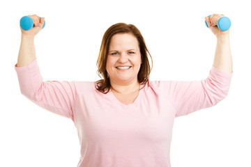 Healthy Plus Size Woman Works Out