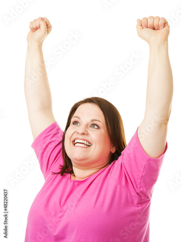 Woman Rasing Arms in Celebration