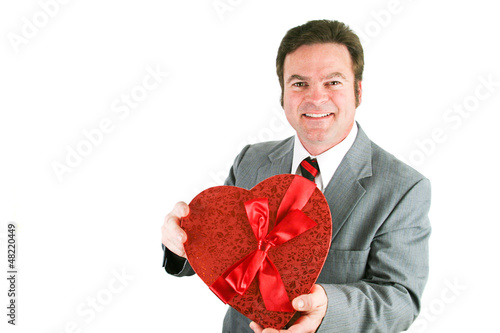 Businessman with Valentine Candy Heart
