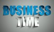 Business time cut from paper on background