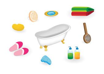 Retro style bath and supplies