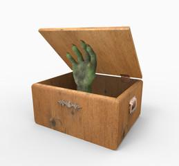 Caja de madera con mano verde