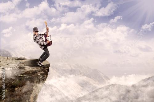 Guitarist play outdoor