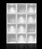 3d white shelves for exhibit