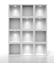 3D White półki dla wystawa