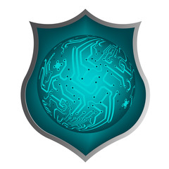 shield with draw of line circuit board