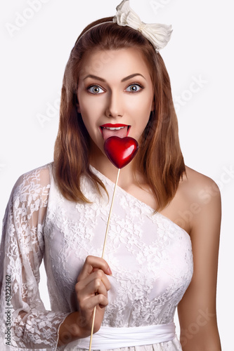 Saint Valentine Day - Happy Funny Women with Red Symbol Heart