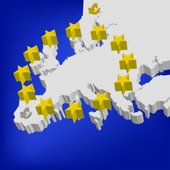 3d map of European Union. vector