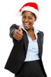 Cute African American businesswoman thumbs up sign wearing Chris