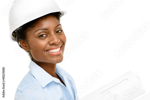 Confident African American woman architect smiling close-up whit