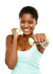 Healthy African American woman excercising with dumbbells isolat