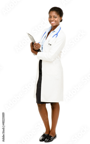African American female doctor full length isolated on white bac