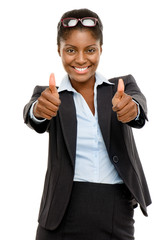 Happy African American business woman thumbs up isolated on whit