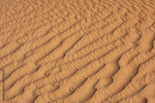Detail of sand rippled by wind in the Sahara desert